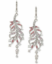 Betsey Johnson Ballerina Rose Silver Tone Pave Crystal Feather Drop Earrings $45