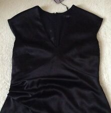 Beautiful *COAST* Zola Dress ,Black Satin  (size Uk 12 ) bnwt