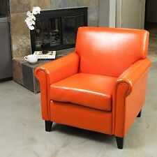Living Room Furniture Rolled Arms Orange Leather Club Chairs