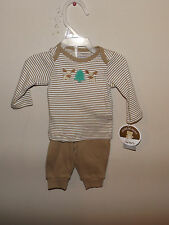 new Carter's Child of mine 2 pc brown striped moose outfit set newborn baby
