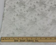 "Metallic Brocade: White with silver flowers, 45"" W, 3 yd. piece"
