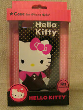 HELLO KITTY iPhone 4/4S Durable Shell Phone Case Cover Black Gold Stars NEW