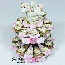 Torta bomboniera 25 fette unicorno magnete a basso costo bimba nascita battesimo