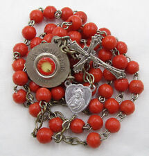 † BLESSED VINTAGE ST TERESIA EX INDUMENTIS RELIC INSECTS & ORANGE GLASS ROSARY †