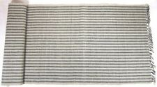 RIBBED TABLE RUNNER 14X36 IN PRIMITIVE COUNTRY BLACK YORK TICKING STRIPED