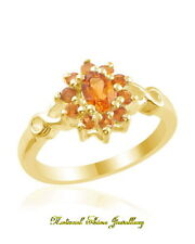 Ring 0.9 CT. Natural Citrine 925 Sterling Silver-18k Yellow Gold Flashed Size 8