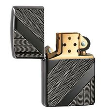 "Zippo ""Coils"" Deep Carved Black Ice Chrome Full Size Lighter, Armor, 29422"