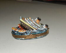 AUTHENTIC LIMOGES sinking titantic with lifeboats ship clasp  france TRINKET BOX
