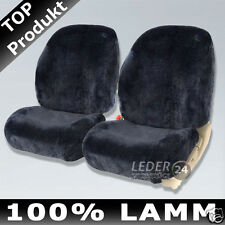 2X SHEEPSKIN COVERS DOUBLE CAP SEAT COVER LAMBSKIN MERCEDES W124 ANTHRACITE