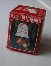 Vintage HOLIDAY BELL RINGER Teddy Bear CHRISTMAS ORNAMENT J.S.N.Y. Unused in Box