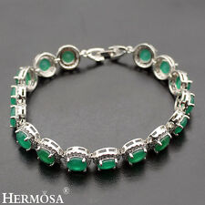 Genuine Green Emerald White Topaz 925 Sterling Silver Real Hot Chain Bracelet 7""