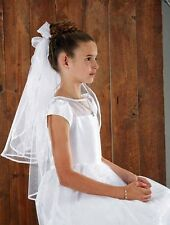 Back Bows With Haircomb First Communion Veil (WC525)  NEW
