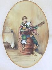 "19th Century Signed Watercolor ""Man playing Guitar"""