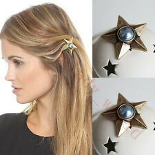 NEW Fashion Womens Girls Ancient Gold Hair Pin Pearl Star Hairpin Hair Clip TS