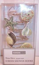 12 Resin Bath Shower Curtain Rings Hooks Ocean Sea Shells Starfish