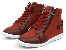 New Women's Casual Canvas High Tops Zip Lace Up Wedges Fashion Sneakers Shoes