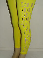 Womens Ripped Rhinestone Embellished 3/4 Length Tight Elastic Stretchy Leggings