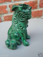 Malachite. Statuette Lion ou chien de Fo. Chine.