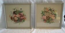 VINTAGE 1940s PRINT PICTURE WITH FLOWERS SHABBY RETRO STYLE PAINTED WOOD FRAME