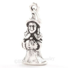 3D WICKED WITCH Jack-o-lantern Sterling Silver Halloween Pendant solid 925 Charm