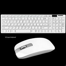 Slim 2.4GHz Wireless Keyboard and Cordless Mouse Kit White For Laptop Desktop PC