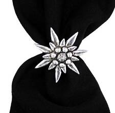 Edelweiss Flower Scarf Ring, English Pewter, Handmade in Great Britain (ab-L)