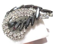 RHINESTONE PIN FANCY NAVETTE AND ROUND CLEAR HEMATITE COLOR BROOCH PIN VINTAGE