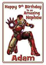 Iron Man Avengers personalised A5 birthday card son brother nephew grandson name