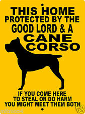"CANE CORSO DOG SIGN,9"" x 12"" ALUMINUM,Guard Dog Sign,Security,Dogs, GLCC1CY"