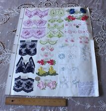 """French Vintage Embroidery Sample Page c.1968~24""""LX19""""W~29 Samples~Craft,Design"""