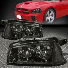 SMOKED HOUSING CRYSTAL TINT LENS HEADLIGHT+CLEAR CORNER SIGNAL FOR 06-10 CHARGER