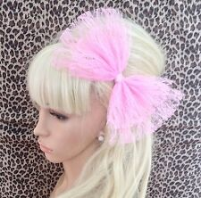 BIG PALE SUGAR PINK LACE DOUBLE BOW ALICE HAIR CLIP 80s RETRO PARTY FANCY DRESS