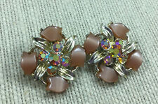 Vintage Earrings Rhinestone Thermoset Plastic Goldtone Brown Orange AB Clip On