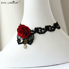 Hot Fashion Gothic Red Rose Flower Lace Fake Collar Necklace Clavicle Chain