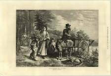 1871 Charming Artwork Drawn Downard For The Squires Hall Collecting Donkey Cart