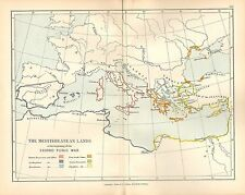 ANTIQUE MAP MEDITERRANEAN LANDS SECOND PUNIC WAR ROMAN POSSESSIONS GREEK STATES