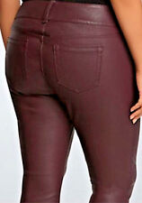 "Torrid Womens Pants Faux Leather Premium Jeggings Maroon Plum Sexy 28"" inseam 16"