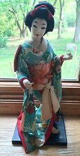 Japanese Vintage Kimono Geisha Cloth Doll Turquoise Flowers Robe