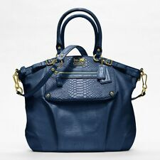 NWT~ COACH MADISON EMBOSSED MIXED EXOTIC POCKET LINDSEY SATCHEL F19635~NAVY~$698
