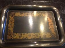 """Large Black Tray with Floral Pattern (17.5"""" x 13.5"""")"""