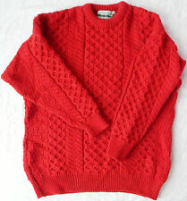 Aran Crafts Ireland Red Cable Knit Wool Fisherman Sweater  Mens XXL 2XL Heritage