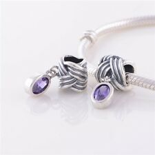 New! Retro 925 Sterling Silver Dangle Slide Bead with Amethyst Cz Crystal Charm