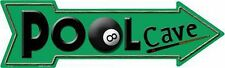 "Pool Cave Billiard Room Eight Ball Novelty Metal Arrow Sign 17"" x 5"" Wall Decor"
