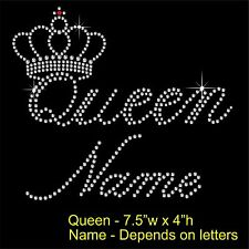 Personalised Queen & crown Rhinestone/Diamante Transfer Hotfix Iron on Motif