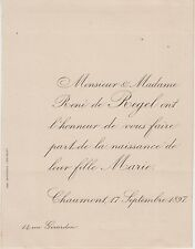 1897 Faire-part naissance Marie de REGEL - Chaumont (Haute-Marne).
