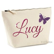 PERSONALISED MAKE UP BAG WITH YOUR NAME IN SHINY GLITTER GIFT PRESENT MOTHER'S