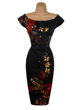 WAREHOUSE SIZE 10 DRESS FIGURE HUGGING PENCIL WIGGLE  FLORAL PARTY # US 6 EU 38