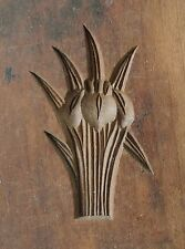 ANTIQUE JAPANESE KASHIGATA Hand Carved Wooden Cake Mold - Iris