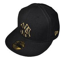 """New Era 59fifty-ny New York Noir / Doré gardienne-plat peak cap 7 1/2 """" (fp230)"""