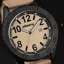 INFANTRY Mens Quartz Wrist Watch Night Vision Date Tactical Army Brown Nylon